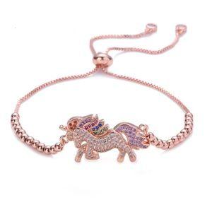 Rose Multicolor Unicorn Beaded Adjustable Bracelet